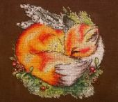 """Red sleeper"". Digital cross stitch pattern."
