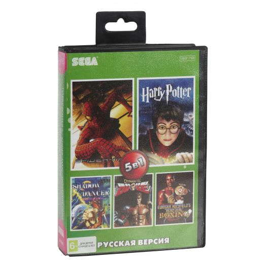 Sega картридж 5в1  (SK-5005)  HARRY POTTER 2/SPIDER-MAN/DYNAMITE DUKE+..