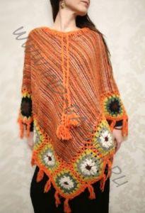 Оранжевое вязаное женское пончо (Москва)