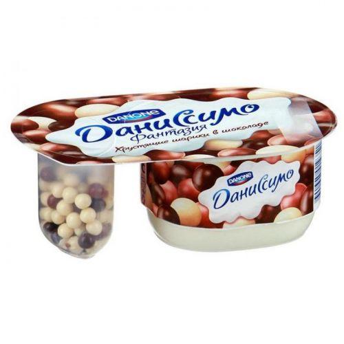 ..Десерт творожный Даниссимо Фантазия натуральный с хрустящими шариками 130 г