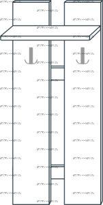 Вешалка наборная с 2 крючками мод.36 Ждана