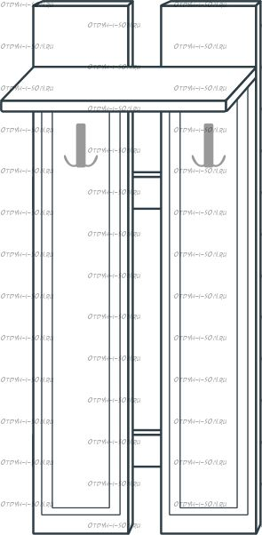 Вешалка наборная МДФ с 2 крючками мод.40 Ждана