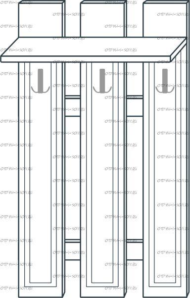 Вешалка наборная МДФ с 3 крючками мод.41 Ждана