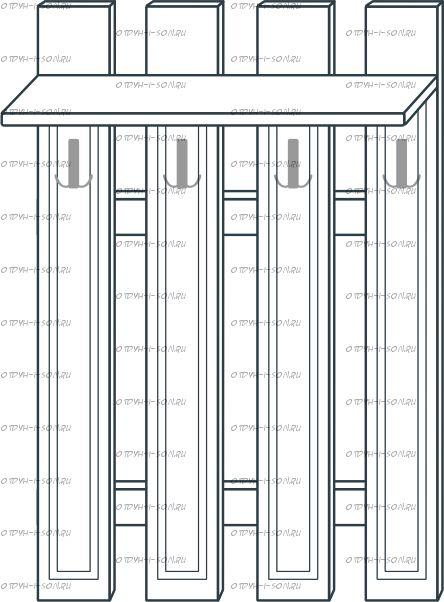 Вешалка наборная МДФ с 4 крючками мод.42 Ждана