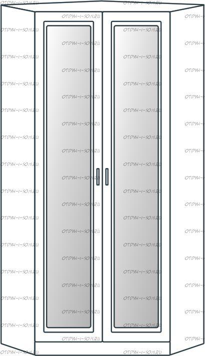 Шкаф угловой 2-дверный Ждана с зеркалами равносторонний мод.51