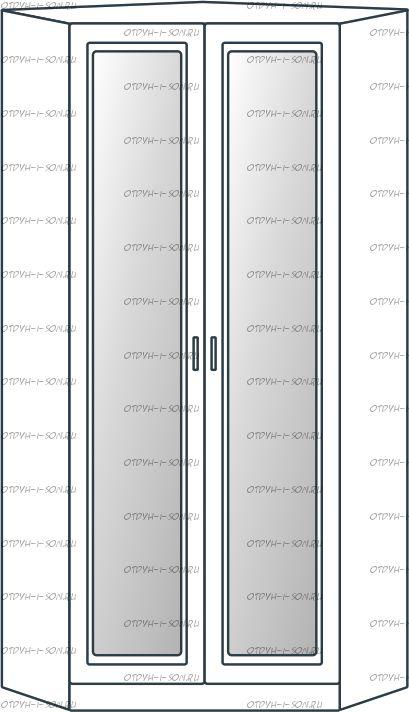 Шкаф угловой 2-дверный Ждана с зеркалами разносторонний мод.53