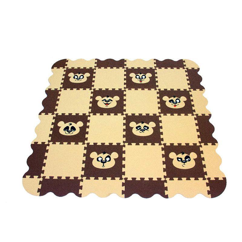 Игровой коврик пазл детский «ПАНДА» (бежево-коричневый)