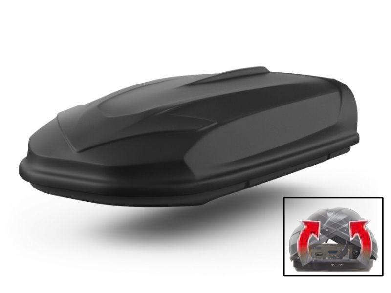 Автомобильный бокс на крышу Avatar EURO, 460 литров, двусторонний, черный матовый