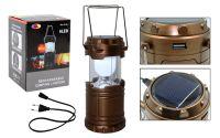 Кемпинговый фонарь с солнечной батареей и usb малый (К)