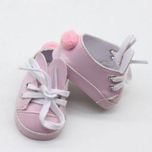 Обувь для кукол 5 см - туфли розовые с ушками и помпоном