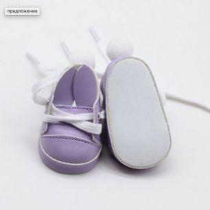Обувь для кукол 7 см - туфли сиреневые с ушками и помпоном