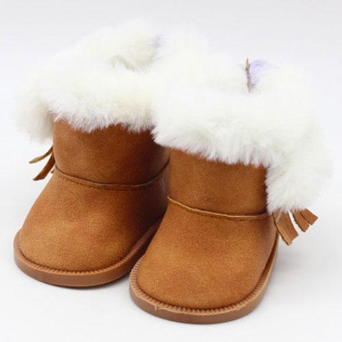 Обувь для кукол сапожки на замочке с мехом 9 см - коричневые