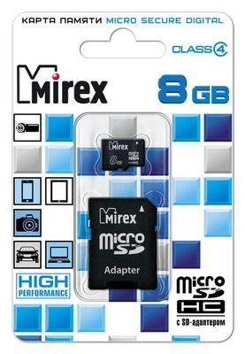 Карта памяти microSD MIREX 8GB class 4 (с адаптера)