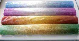 Гофрированная бумага 180 г. металлик-переход цвета