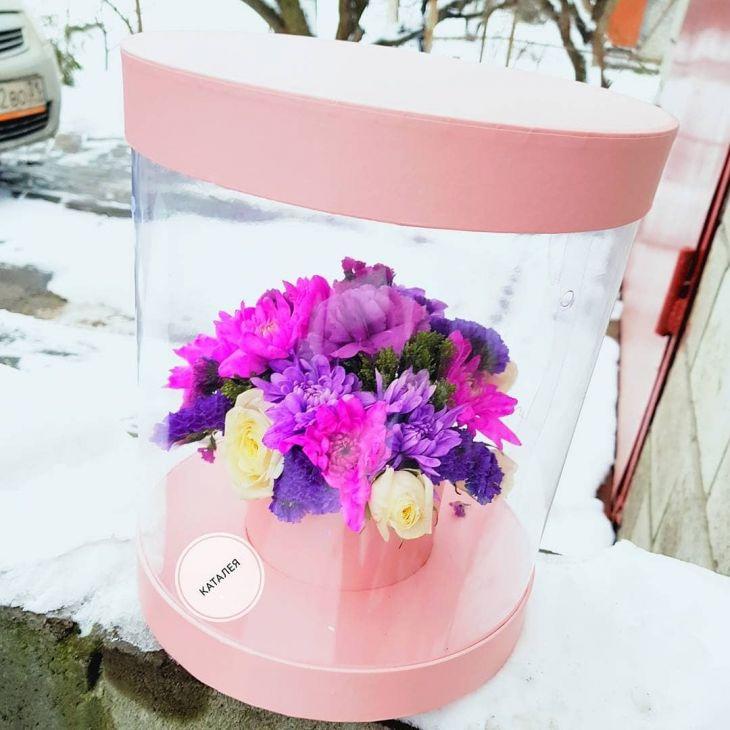 Цветы в прозрачной коробочке