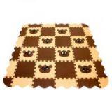 Игровой коврик пазл детский «ПАНДА» (коричнево-бежевый)