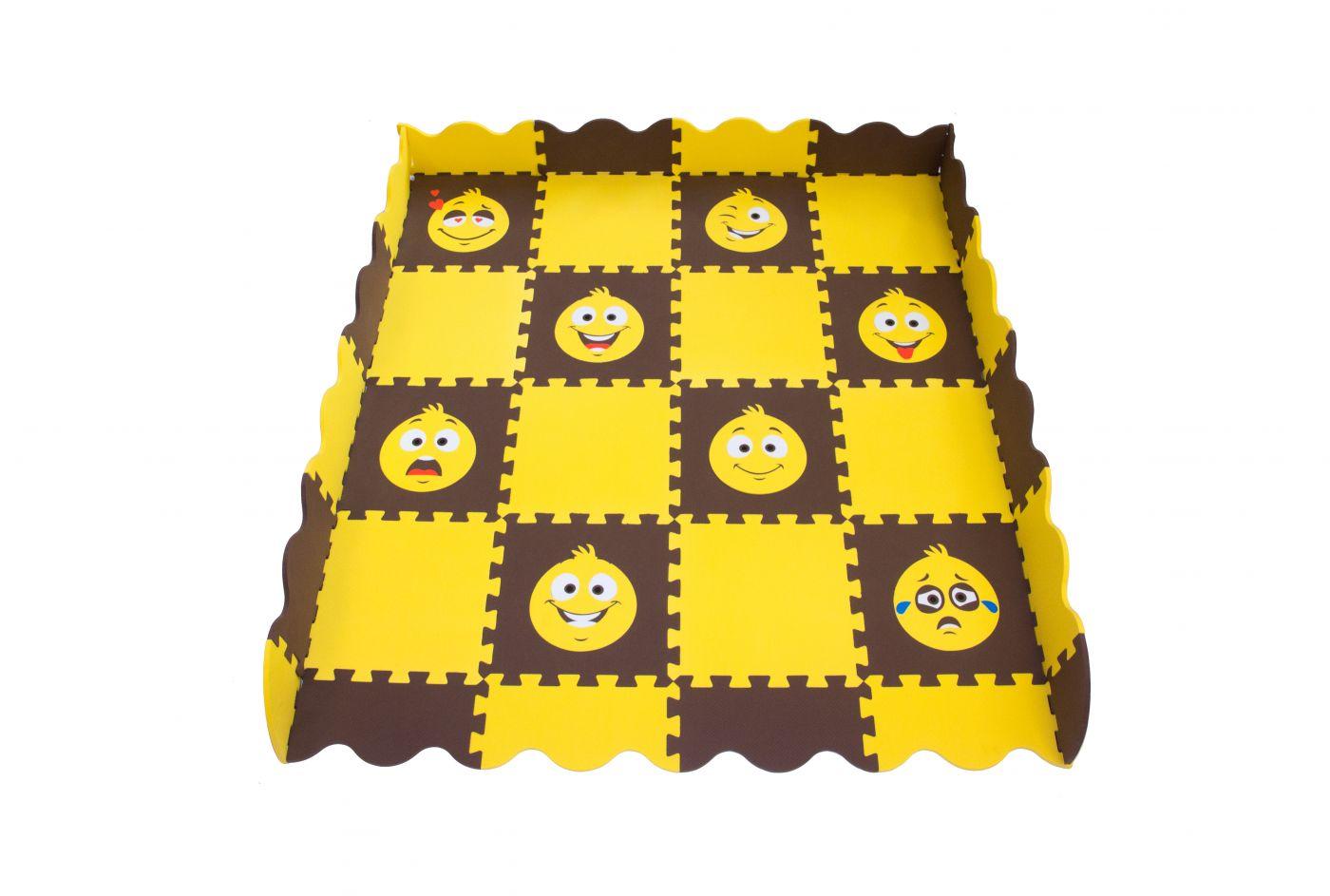 Игровой коврик пазл детский «СМАЙЛИКИ» (желто-коричневый)