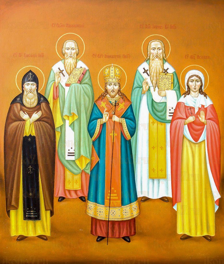 Василий, Харлампий, Акилина и Иннокентий Пензенский (икона на дереве)