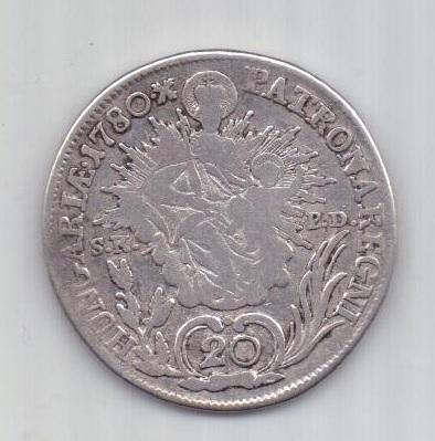 20 крейцеров 1780 г.  редкий  Венгрия. Австрия