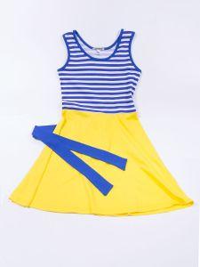 Платье для девочки желтое с бело-синей полоской