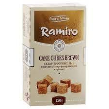 Сахар Рамиро тростниковый коричневый нерафинированный в кубиках 250г