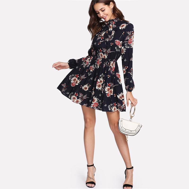 Платье Черное В Цветочек С Длинным Рукавом