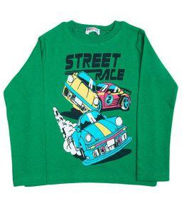 Зеленый логслив для мальчика с принтом ярких авто