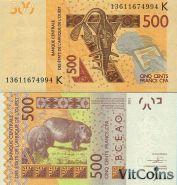 Западная Африка, Африканские штаты 500 Франков 2013 года. A - Берег слоновой кости