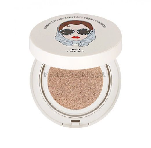 Baviphat Urban City UV Contact Fresh Cushion #23 Natural Beige SPF50+ PA+++  (Bloom Rose Lip&Cheek #Red Piano Rose)