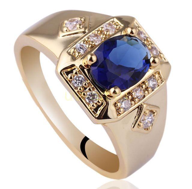 Позолоченное кольцо с искусственными сапфиром и бриллиантами (арт. 260572)