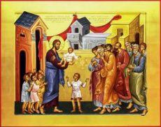 Иисус Христос и дети (икона на дереве)