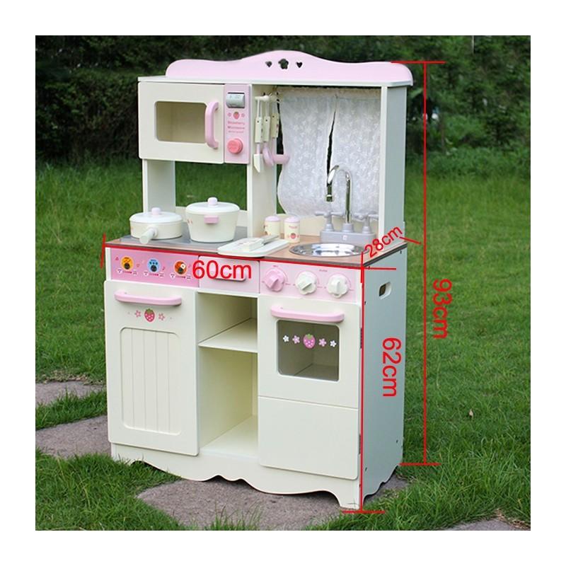 Кухня деревянная для детей с красивой ретро-плитой