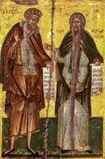 Пахомий Великий и Давид Фессалоникийский (копия иконы 16 века)