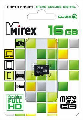 Карта памяти microSD 16 Gb Mirex class 10 (без адаптером SD)