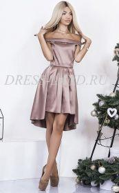 Кофейное атласное платье