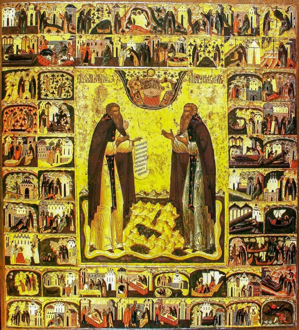 Икона Зосима и Савватий Соловецкие (копия 16 века)