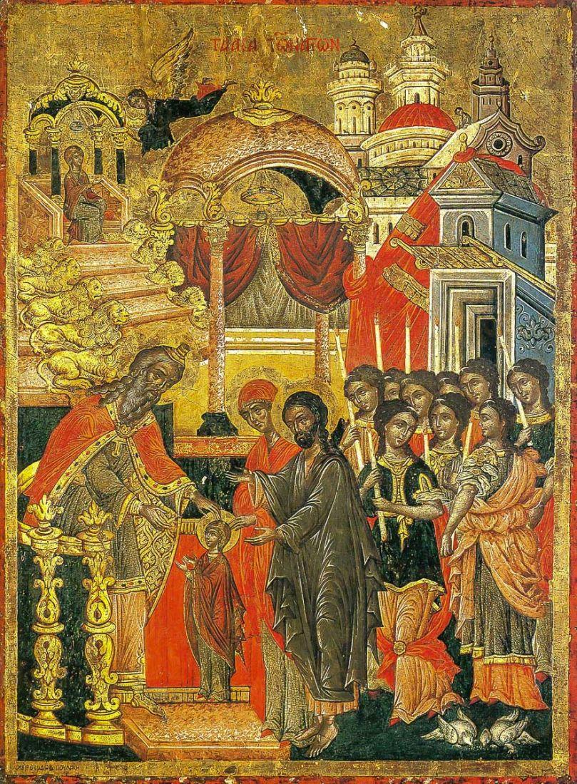 Икона Введение во храм Пресвятой Богородицы (копия старинной)