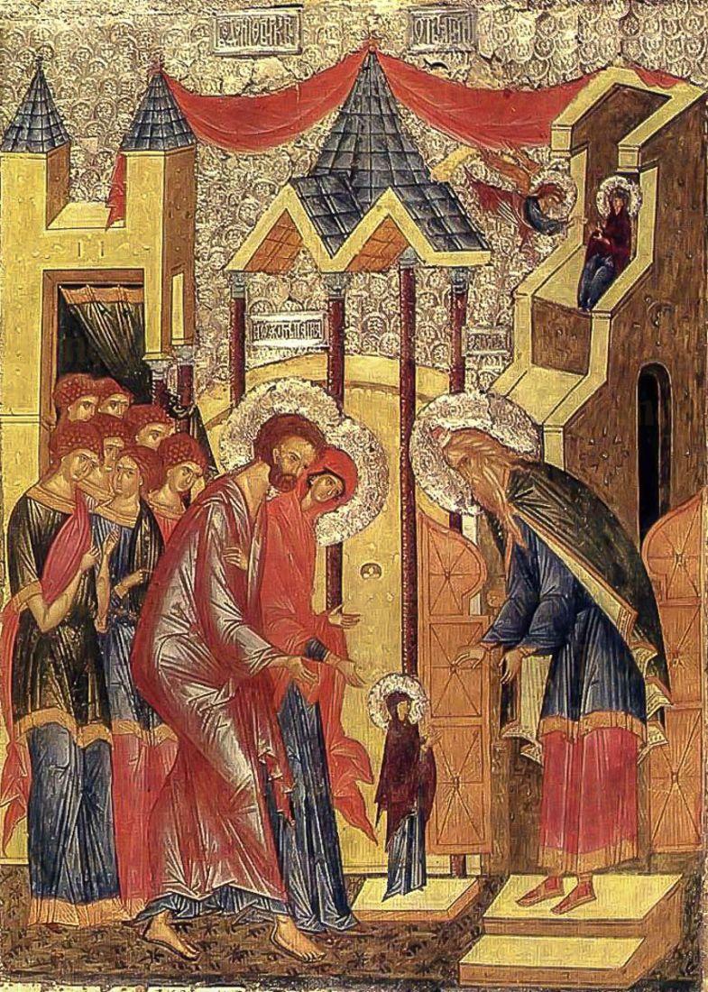 Икона Введение во храм Пресвятой Богородицы (копия 15 века)