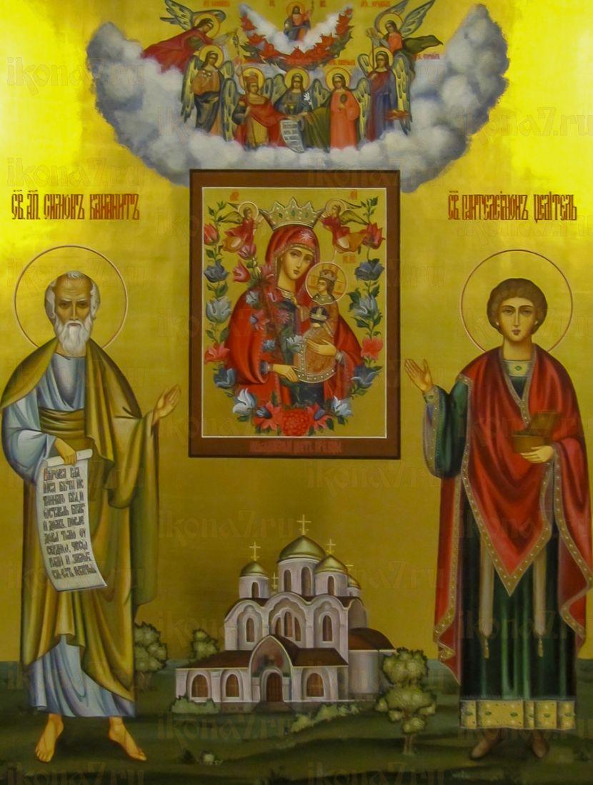 Симон Кананит (Зилот) и Пантелеймон-целитель (икона на дереве)