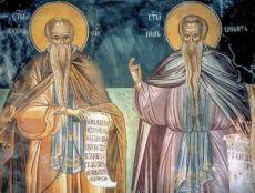 Кириак Отшельник и Нил Постник (Синайский) (копия старинной иконы)