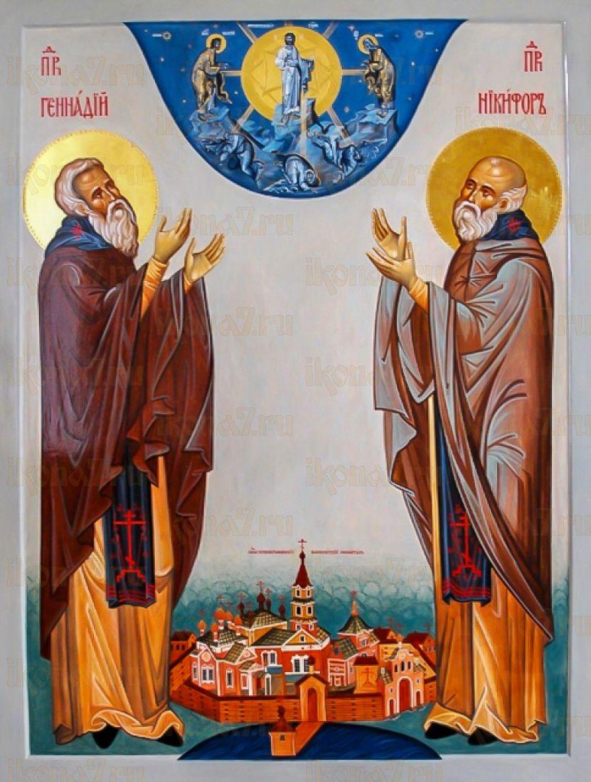 Никифор и Геннадий Важеозерские (икона на дереве)