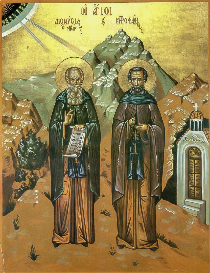 Дионисий и Митрофан Афонские (икона на дереве)