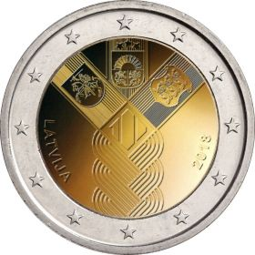 100 лет независимости прибалтийских государств 2 евро Латвия 2018