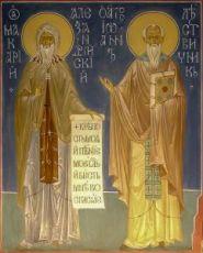 Икона Макарий Александрийский и Иоанн Лествичник (копия старинной)