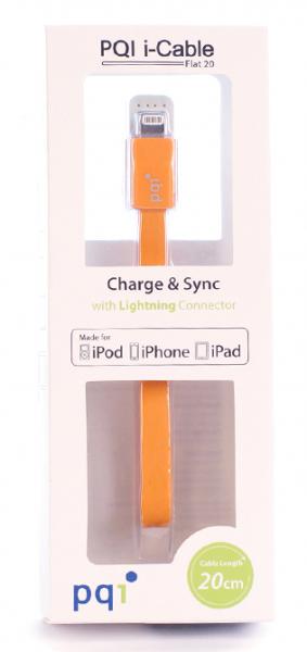 Переходник с USB на Lightning 20см PQI плоский  (made for iPhone,iPad, iPod) с замочком оранжевый