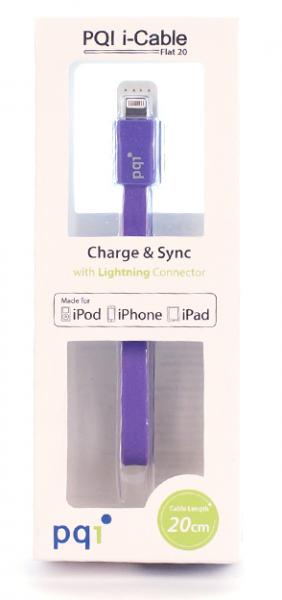 Кабель на Lightning 20см PQI плоский  (made for iPhone,iPad, iPod) с замочком фиолетовый