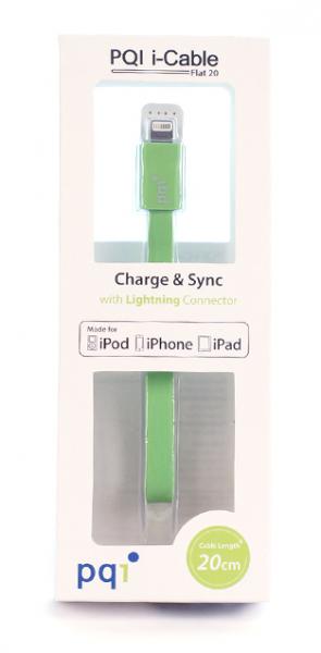 Переходник с USB на Lightning 20см PQI плоский  (made for iPhone,iPad, iPod) с замочком зеленый