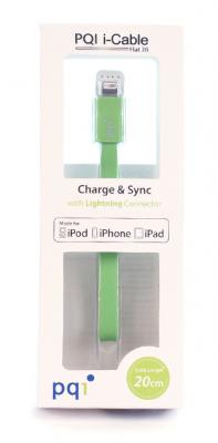 Кабель на Lightning 20см PQI плоский  (made for iPhone,iPad, iPod) с замочком зеленый