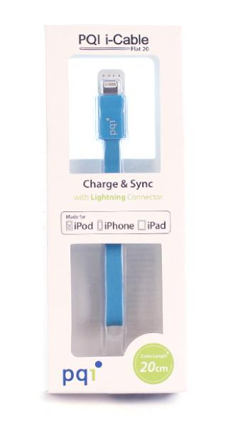 Переходник с USB на Lightning 20см PQI плоский  (made for iPhone,iPad, iPod) с замочком голубой