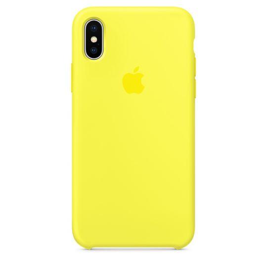 Silicone Case для iPhone X/Xs/XsMAX (жёлтый неон)